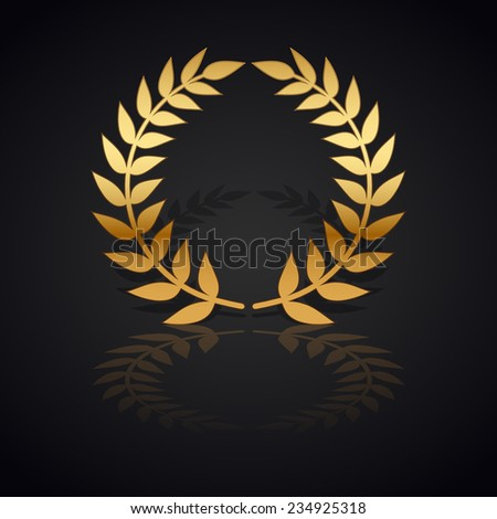 Gold laurel wreath with  shadow and reflection on black background. - stock vector