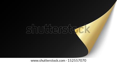 gold leaf paper with bent corner - stock vector