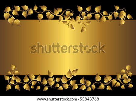 Gold leaves and banner on the black.vector illustration.  Welcome! More similar images available. - stock vector