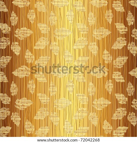 Gold leaves on a fabric - stock vector