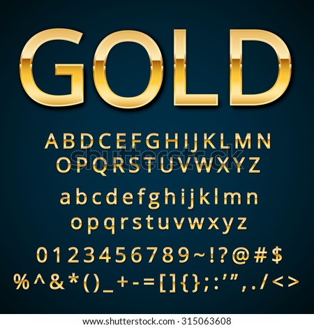 Gold letter, alphabetic fonts  with numbers and symbols. Vector EPS10 - stock vector