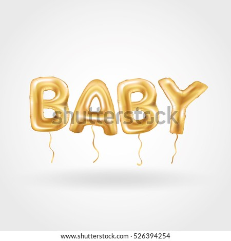 Gold Letter Baby Balloons Birthday Gold Stock Vector 526394254