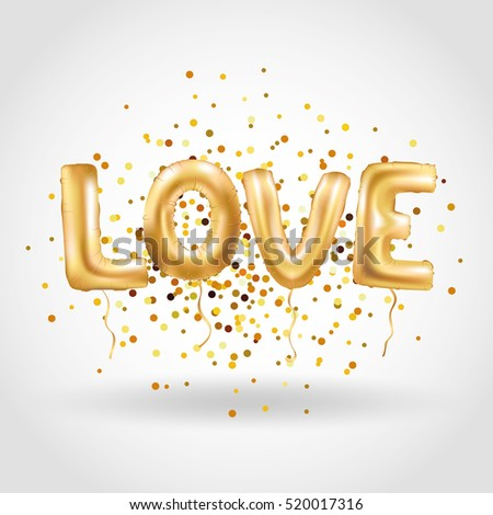 Gold letter love balloons love you stock vector 520017316 for I love you letter balloons