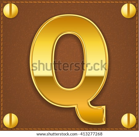 gold letter Q on brown  leather plate