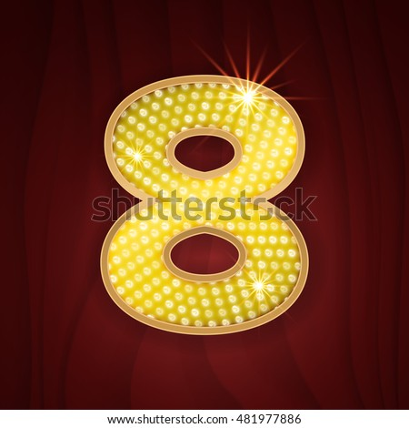 Gold light l& bulb font number Eight 8. Sparkling glitter design in style of vegas & Gold Light Lamp Bulb Font Number Stock Vector HD (Royalty Free ...