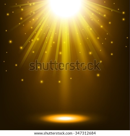 Gold lights shining background - stock vector