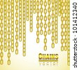 gold link chain dangling, vector illustration - stock vector
