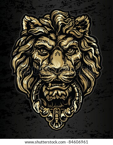 Gold Lion Door Knocker - stock vector