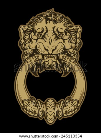 Gold lion head door knocker on black background. Hand drawn vect - stock vector