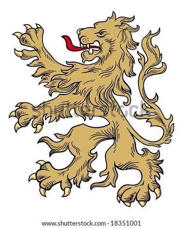 Gold lion vector - stock vector