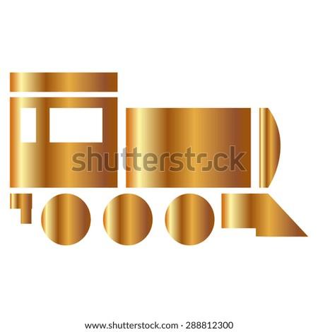 Gold Locomotive icon . Vector illustration - stock vector