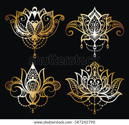 Gold Lotus logo vector art set design.Vector ornamental Lotus flowers