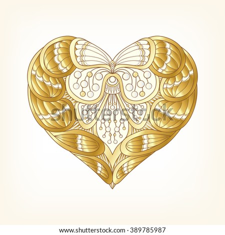 Gold Love Heart on white background. Vector illustration. In art deco style, art nouveau style.