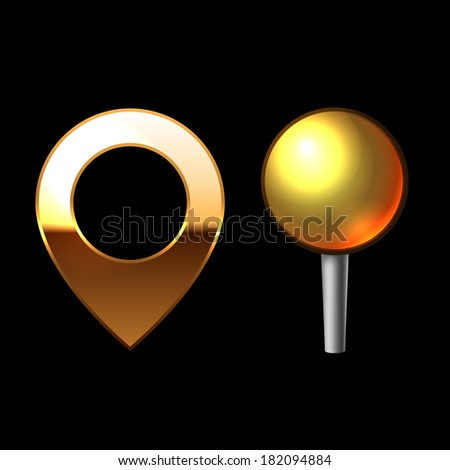 Gold Mapping Pins Set. Metal round shape with color reflection on black background. Vector - stock vector