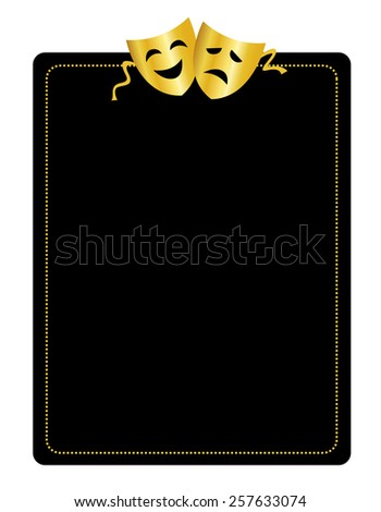 Gold masks silhouette representing theater comedy and drama border / frame - stock vector