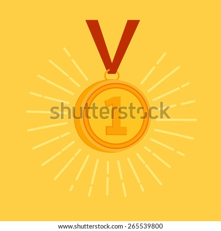 Gold medal award for the winner or champion with a sparkling gold medallion with the number 1 hanging on a red ribbon, vector illustration