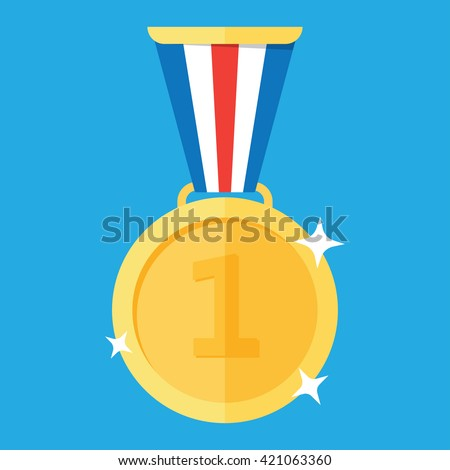 Gold medal. Gold medal icon. Isolated gold medal. Gold medal for first place. Gold medal flat icon - stock vector