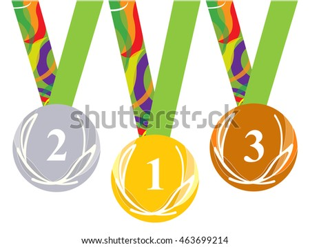 Gold medal icon. Silver medal icon. Bronze medal icon. Medal set. white background. Brazil.