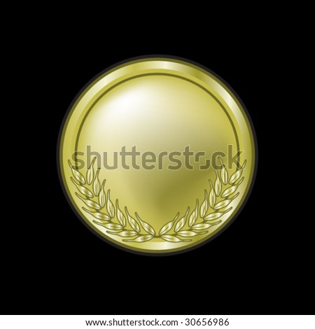 gold medal on white background - stock vector