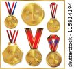 Gold medal set - stock photo