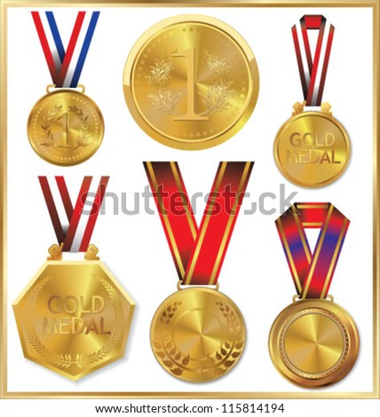 Gold medal set - stock vector