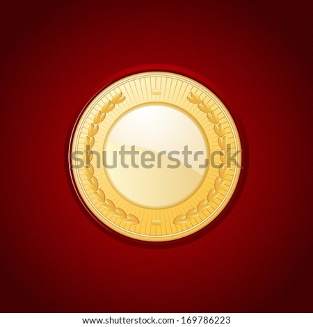 Gold medal set on a red leather background