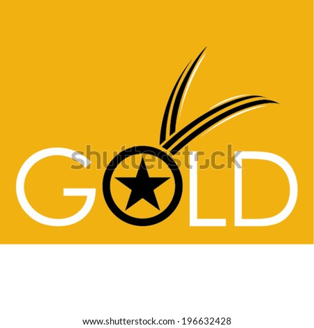 Gold medal symbol - stock vector