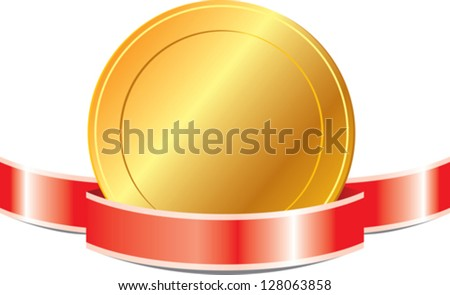 Gold medal with red ribbon - stock vector