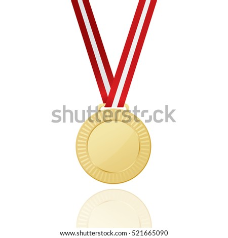 Gold Medal With Red Ribbon. Icon. Vector Illustration.