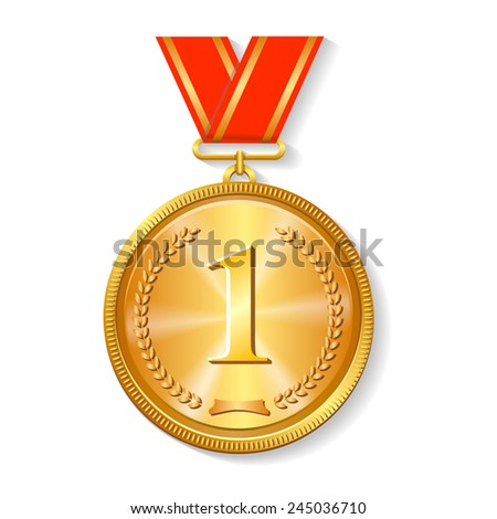 Gold medal with red ribbon  isolated on white with  laurel wreath,  an award for victory winning first placement achievement or quality - stock vector