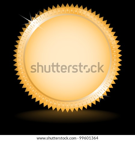 Gold medal with reflexion on dark background. Background is in separate layer. Vector illustration. - stock vector