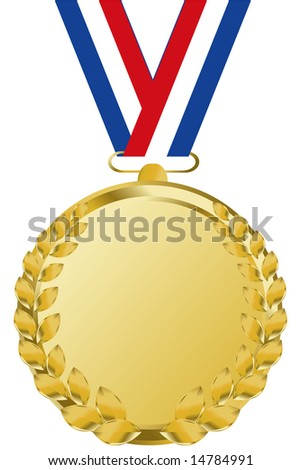 gold medal with tricolor ribbon - stock vector
