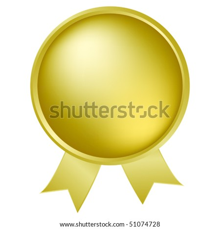 Gold medallion with ribbon - stock vector