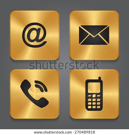 Gold Metal contact buttons - set icons - email, envelope, phone, mobile. - stock vector