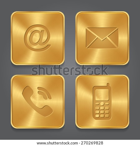 Gold Metal contact buttons - set icons - email, envelope, phone, mobile. Vector  - stock vector