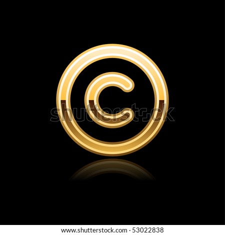 Gold metal glossy copyright web button with reflection on black - stock vector