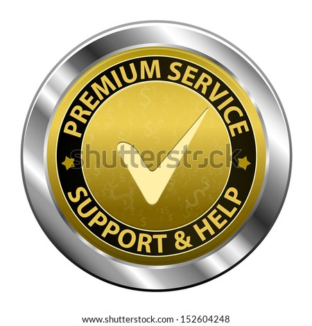 Gold metal label Customer premium service and support icon or symbol isolated on white background. Vector illustration - stock vector