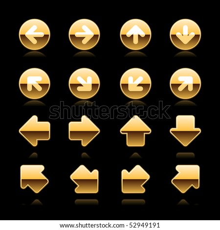 Gold metal web button arrow set with reflection on black - stock vector