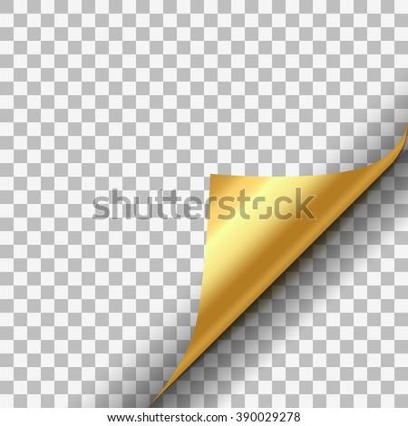 Gold metallic paper corner on transparent background - stock vector