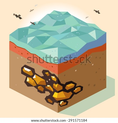 gold mine offshore. vector illustration - stock vector