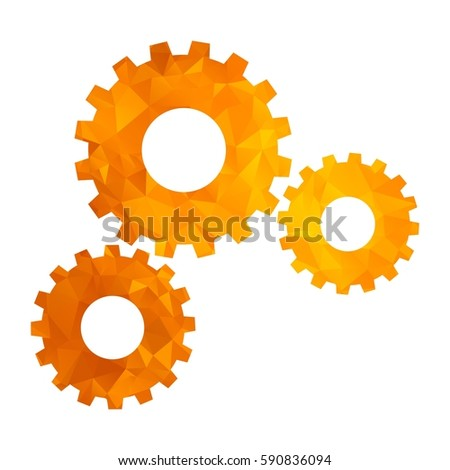 Gold modern polygonal icon for business. Triangle gears. Teamwork concept. Flat vector cartoon illustration. Objects isolated on a white background.