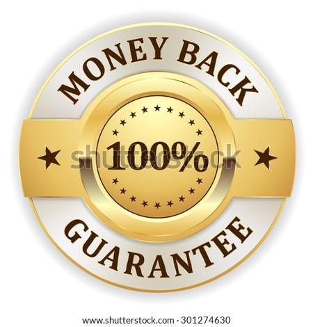 Gold money back badge on white background - stock vector