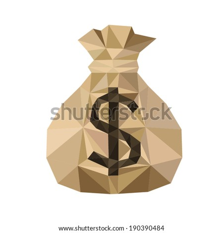 Gold  Money Bag, by triangles, polygon vector illustration - stock vector