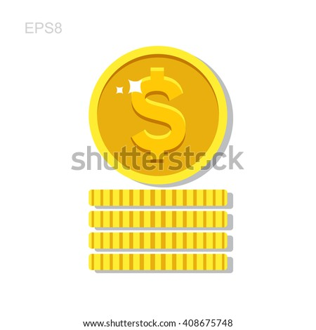 Gold money coin icon in flat style with long shadow. Vector  coins pile - symbol of investments and wealth isolated.  - stock vector