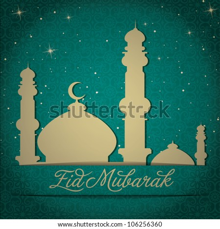 "Gold Mosque and stars ""Eid Mubarak"" (Blessed Eid) card in vector format. - stock vector"