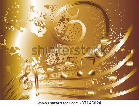 gold music - stock vector
