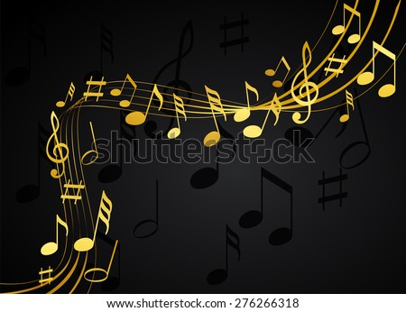 Gold music notes on a solide black background - stock vector