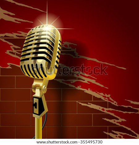 Gold old microphone on the brick wall background with torn wallpaper. Retro music club concept. Vector illustration - stock vector