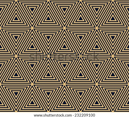 gold on black seamless geometric pattern, based on triangle forms in art deco style - stock vector