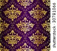 Gold-on-Purple seamless Indian floral pattern (vector); a JPG version is also available - stock vector